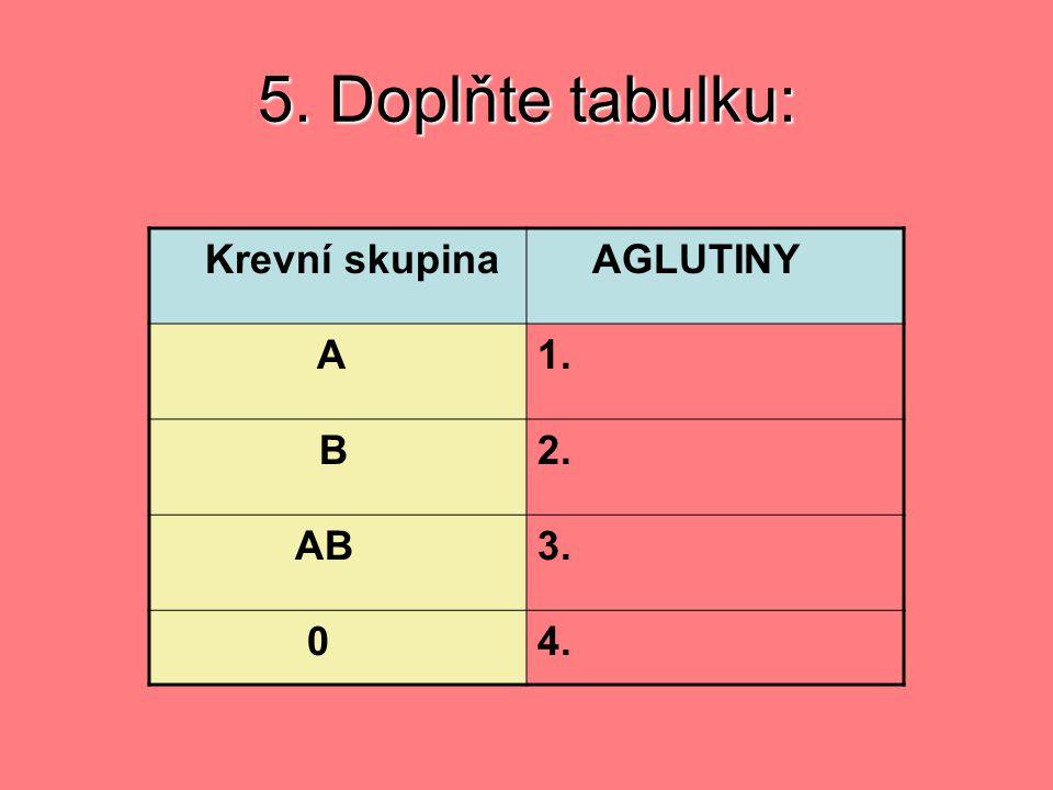 5. Doplňte tabulku: Krevní skupina AGLUTINY A 1. B 2. AB 3. 4.