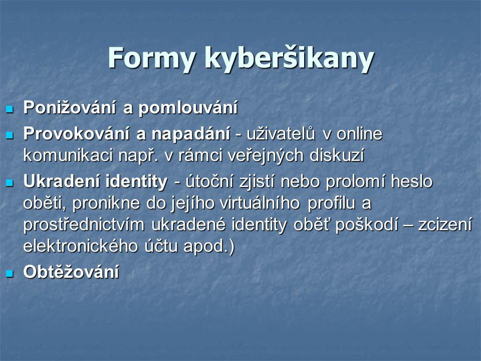 Formy kyberšikany Ponižování a pomlouvání