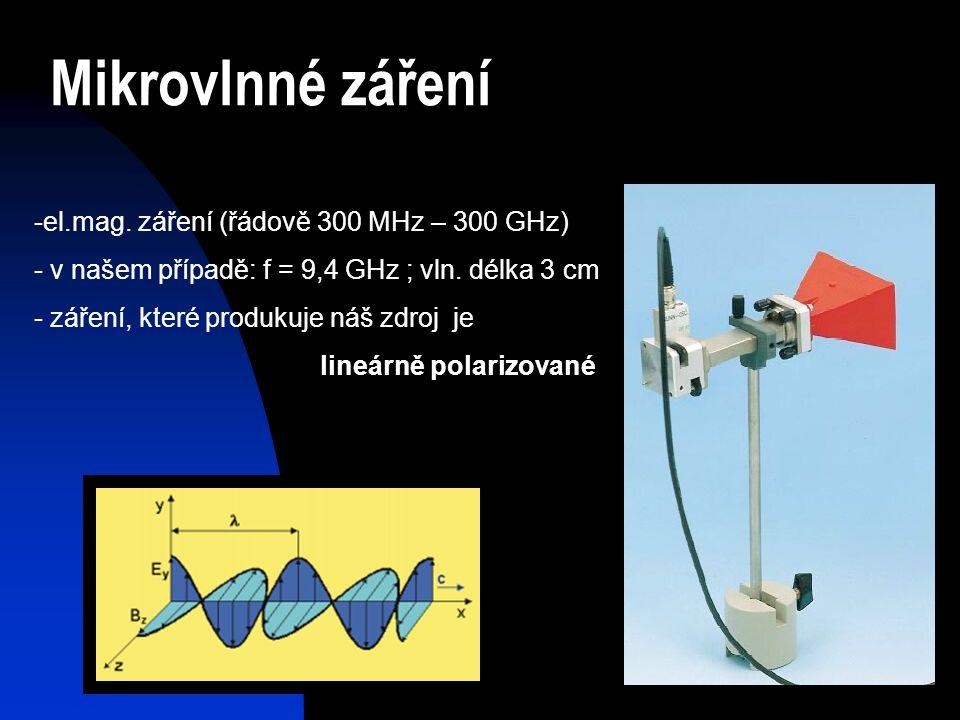 Mikrovlnné záření el.mag. záření (řádově 300 MHz – 300 GHz)