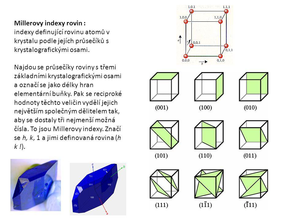 Millerovy indexy rovin : indexy definující rovinu atomů v krystalu podle jejích průsečíků s krystalografickými osami.