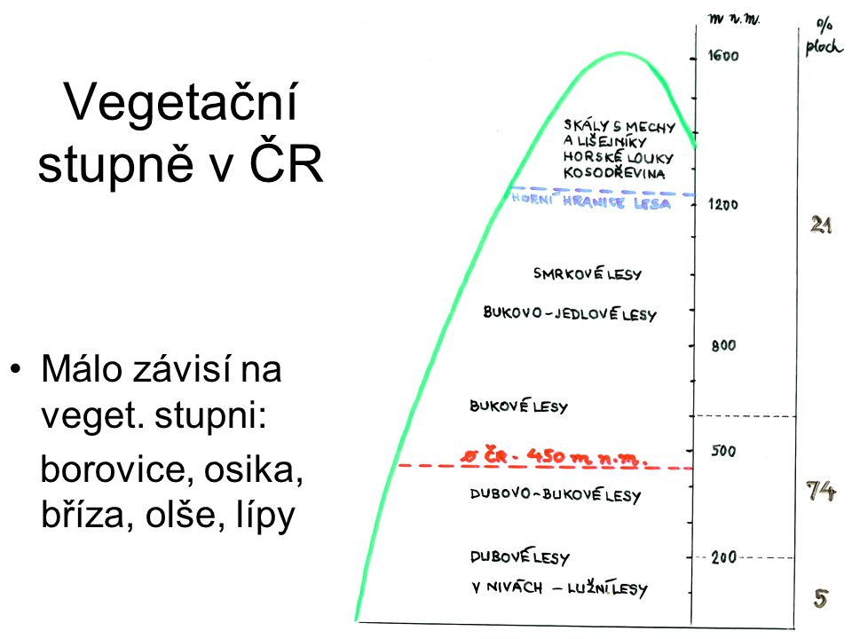 Vegetační stupně v ČR Málo závisí na veget. stupni: