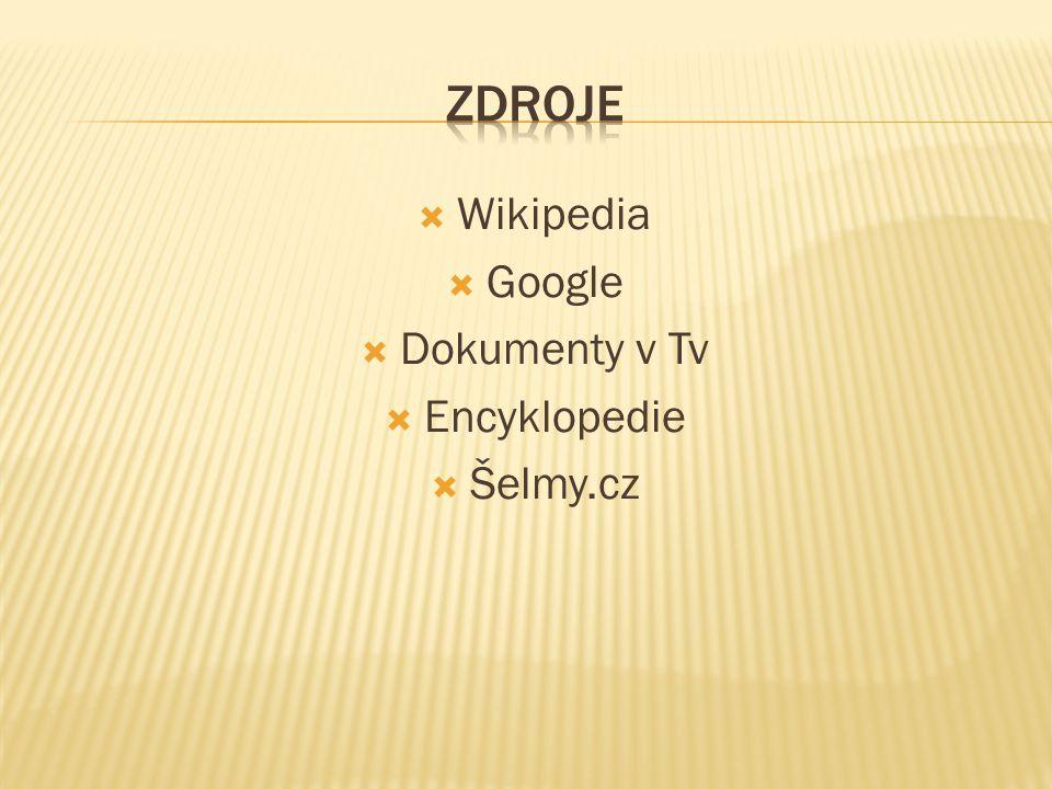 Zdroje Wikipedia Google Dokumenty v Tv Encyklopedie Šelmy.cz