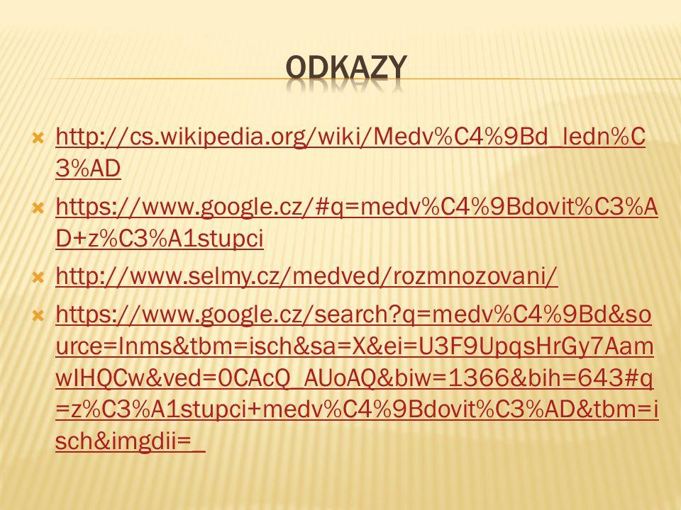 Odkazy http://cs.wikipedia.org/wiki/Medv%C4%9Bd_ledn%C3%AD