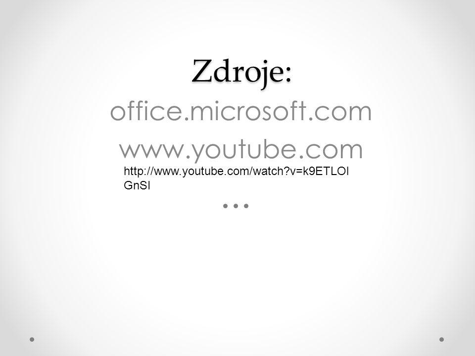 Zdroje: office.microsoft.com www.youtube.com