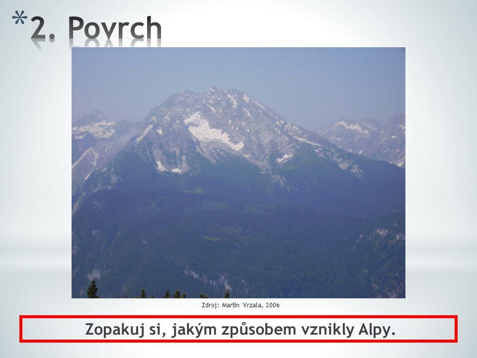 Zopakuj si, jakým způsobem vznikly Alpy.