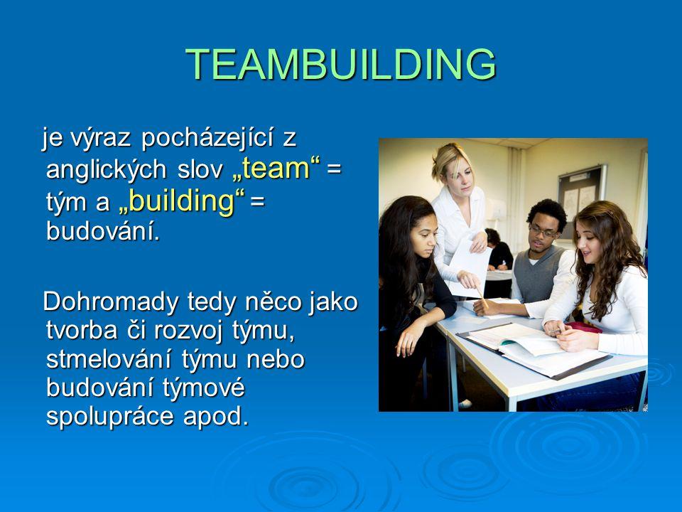 """TEAMBUILDING je výraz pocházející z anglických slov """"team = tým a """"building = budování."""