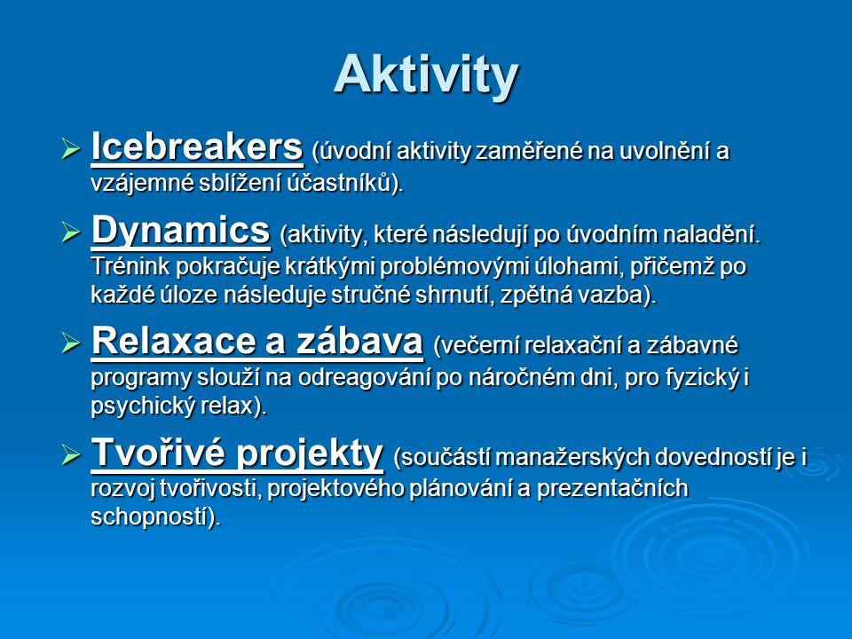 Aktivity Icebreakers (úvodní aktivity zaměřené na uvolnění a vzájemné sblížení účastníků).
