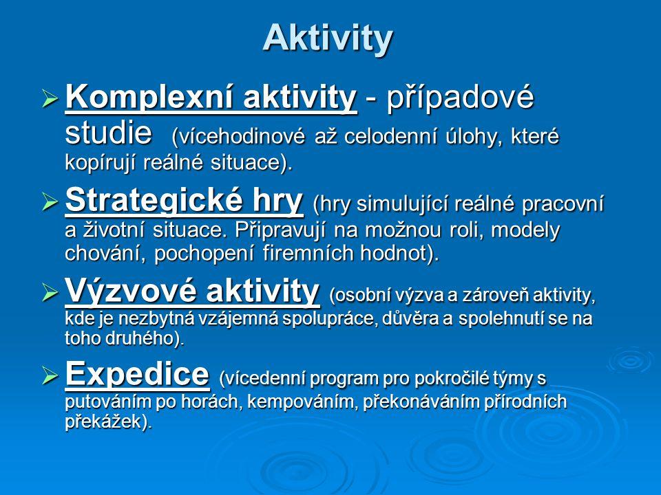 Aktivity Komplexní aktivity - případové studie (vícehodinové až celodenní úlohy, které kopírují reálné situace).