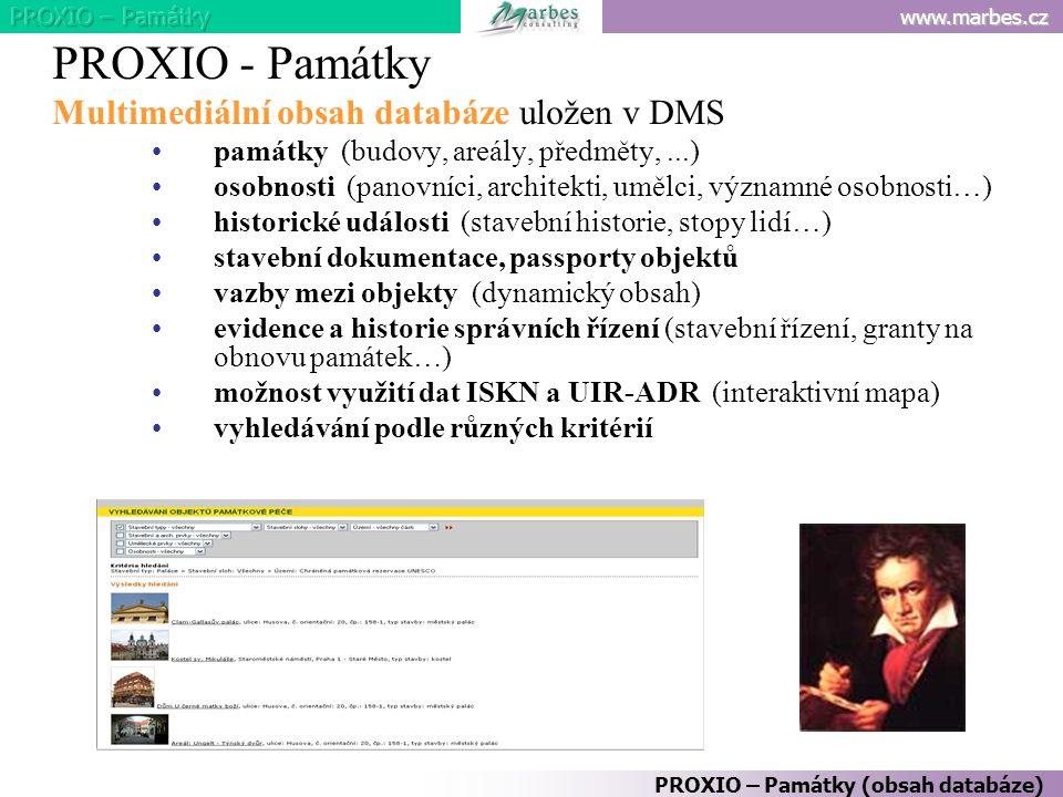 PROXIO - Památky Multimediální obsah databáze uložen v DMS