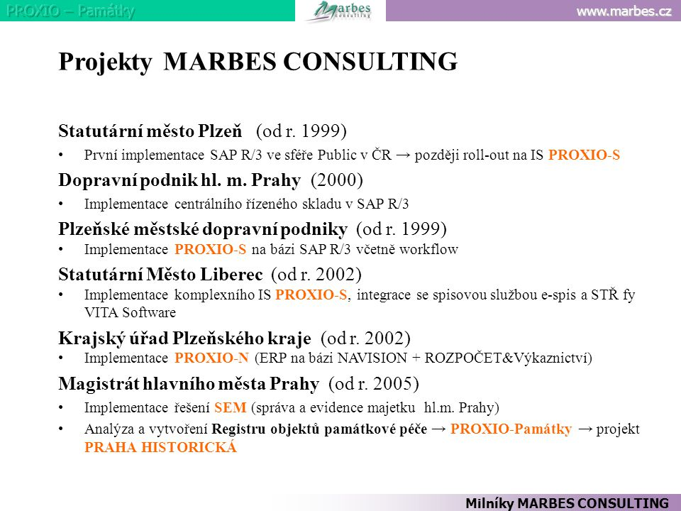 Projekty MARBES CONSULTING