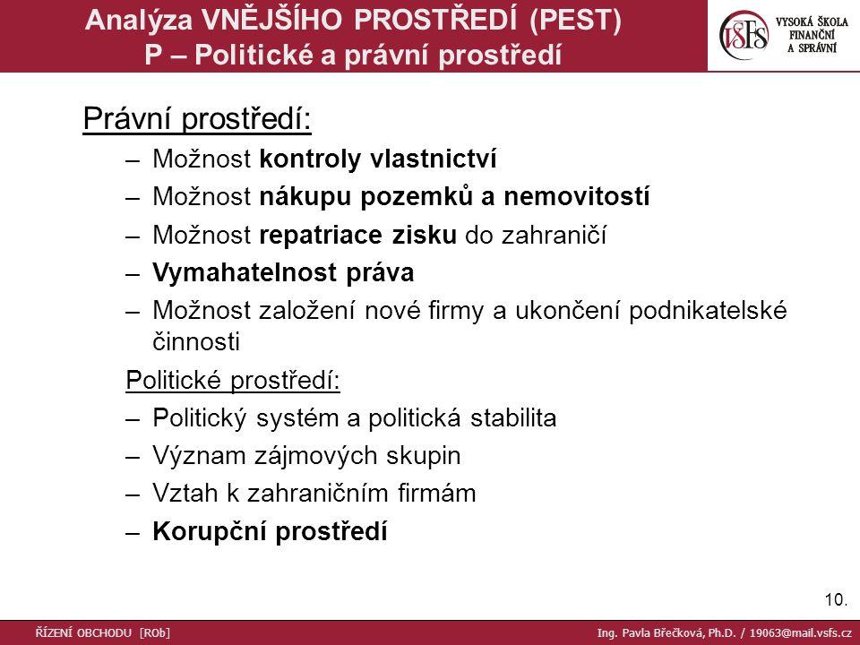 Analýza VNĚJŠÍHO PROSTŘEDÍ (PEST) P – Politické a právní prostředí