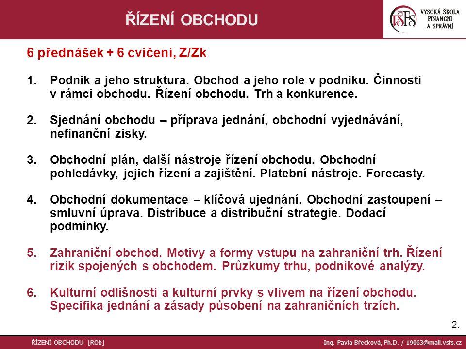 ŘÍZENÍ OBCHODU 6 přednášek + 6 cvičení, Z/Zk