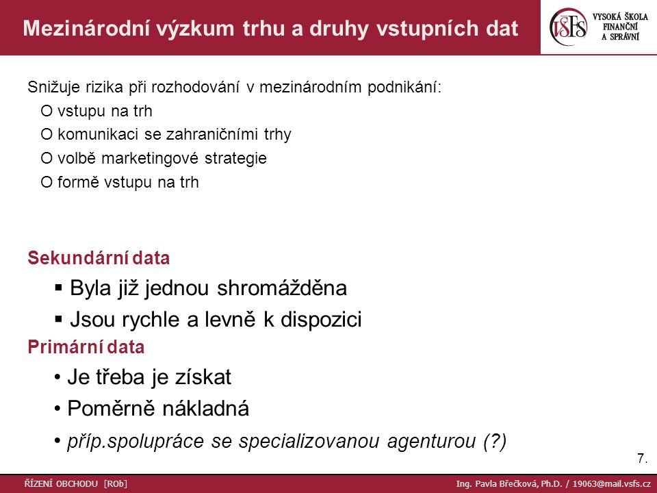 Mezinárodní výzkum trhu a druhy vstupních dat