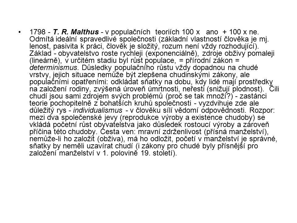 1798 - T. R. Malthus - v populačních teoriích 100 x ano + 100 x ne