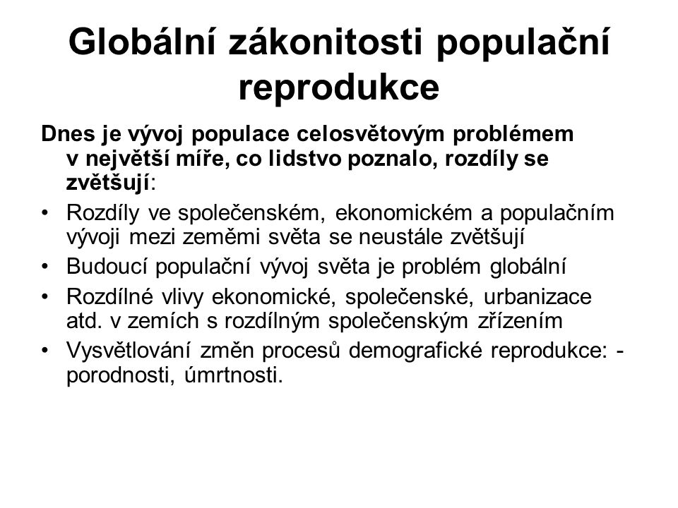 Globální zákonitosti populační reprodukce