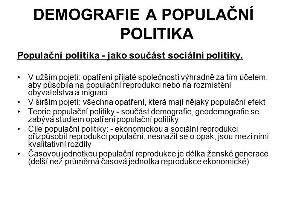 DEMOGRAFIE A POPULAČNÍ POLITIKA