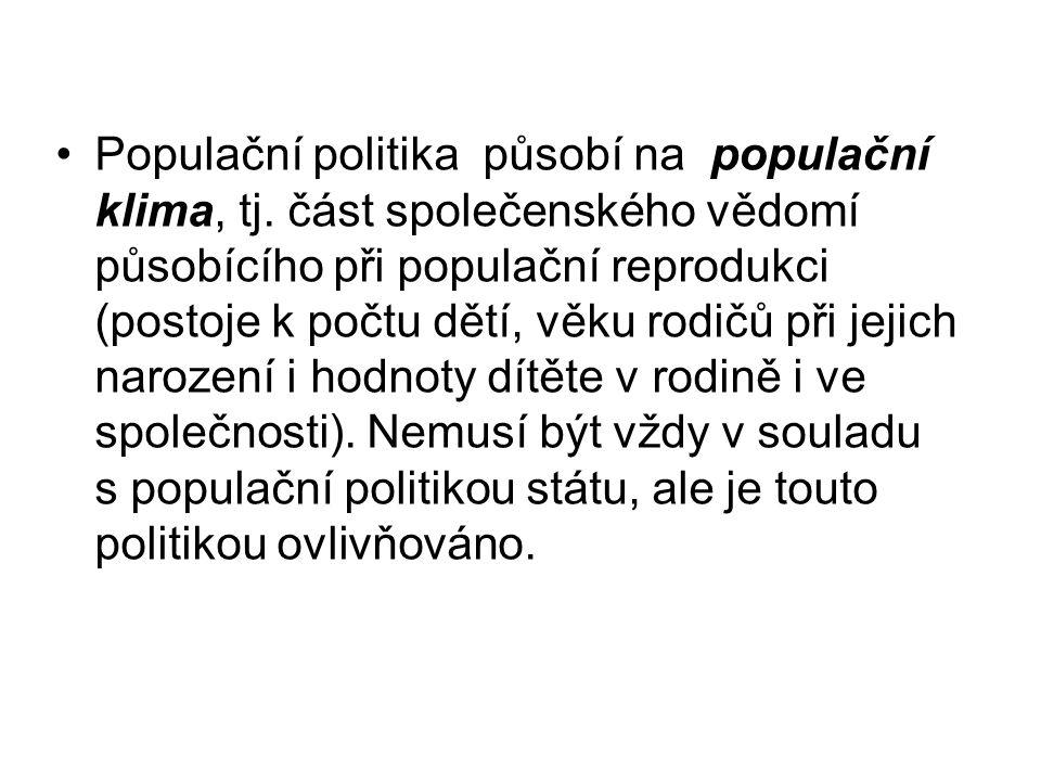 Populační politika působí na populační klima, tj