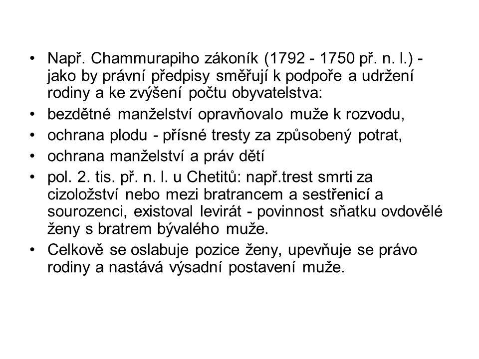Např. Chammurapiho zákoník (1792 - 1750 př. n. l