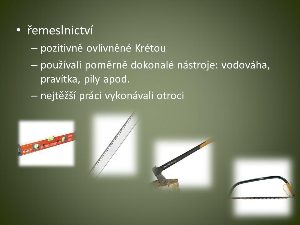 řemeslnictví pozitivně ovlivněné Krétou