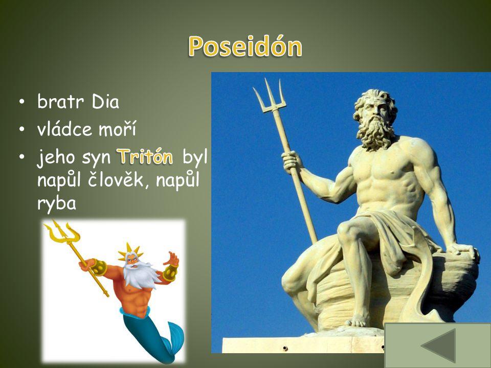 Poseidón bratr Dia vládce moří