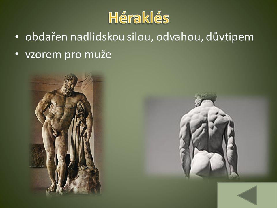 Héraklés obdařen nadlidskou silou, odvahou, důvtipem vzorem pro muže