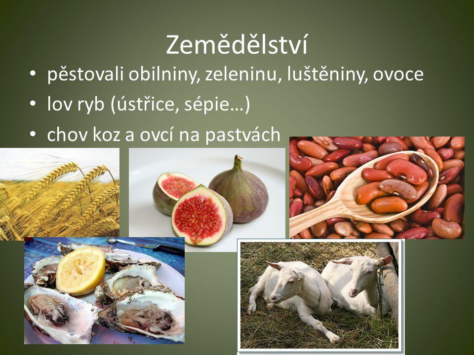 Zemědělství pěstovali obilniny, zeleninu, luštěniny, ovoce