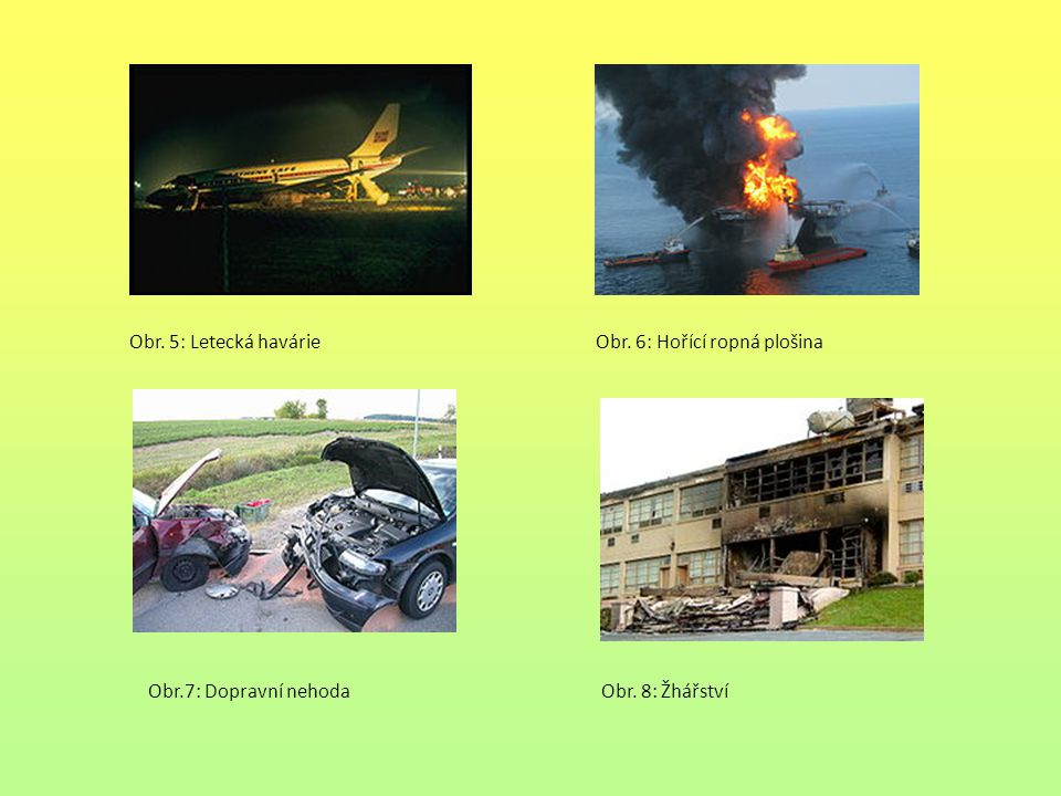 Obr. 5: Letecká havárie Obr. 6: Hořící ropná plošina