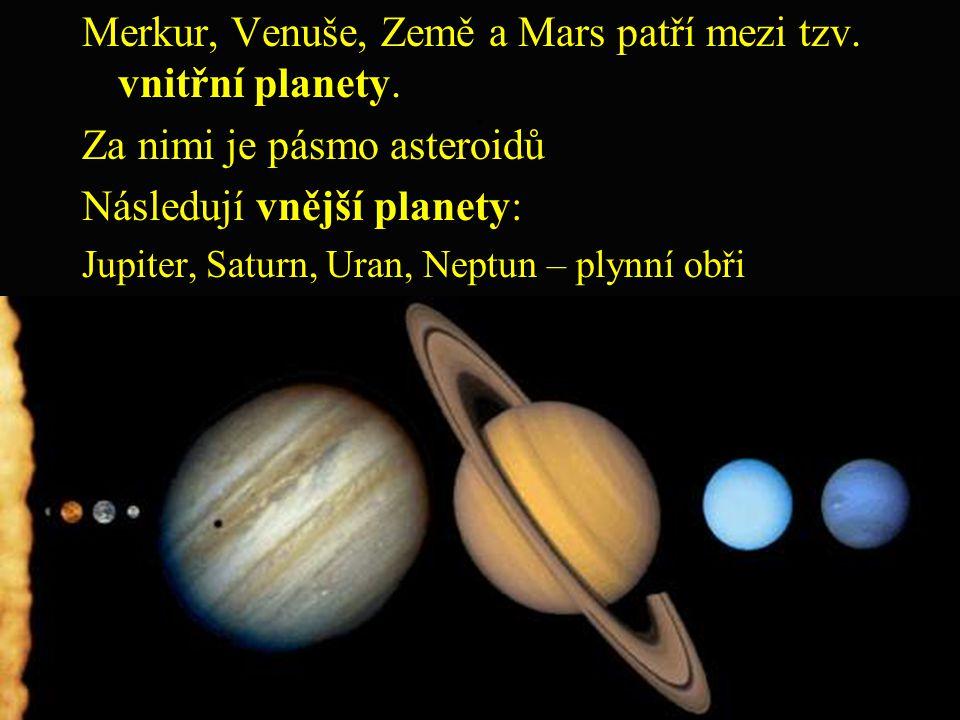 ; Merkur, Venuše, Země a Mars patří mezi tzv. vnitřní planety.