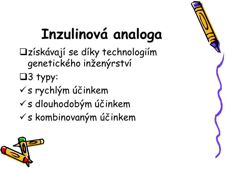 Inzulinová analoga získávají se díky technologiím genetického inženýrství. 3 typy: s rychlým účinkem.