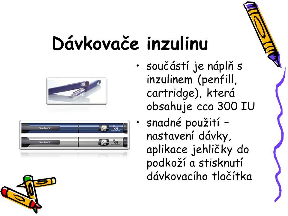 Dávkovače inzulinu součástí je náplň s inzulinem (penfill, cartridge), která obsahuje cca 300 IU.