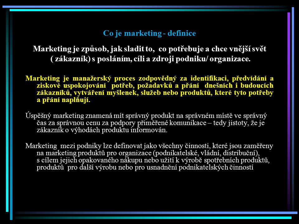 Co je marketing - definice