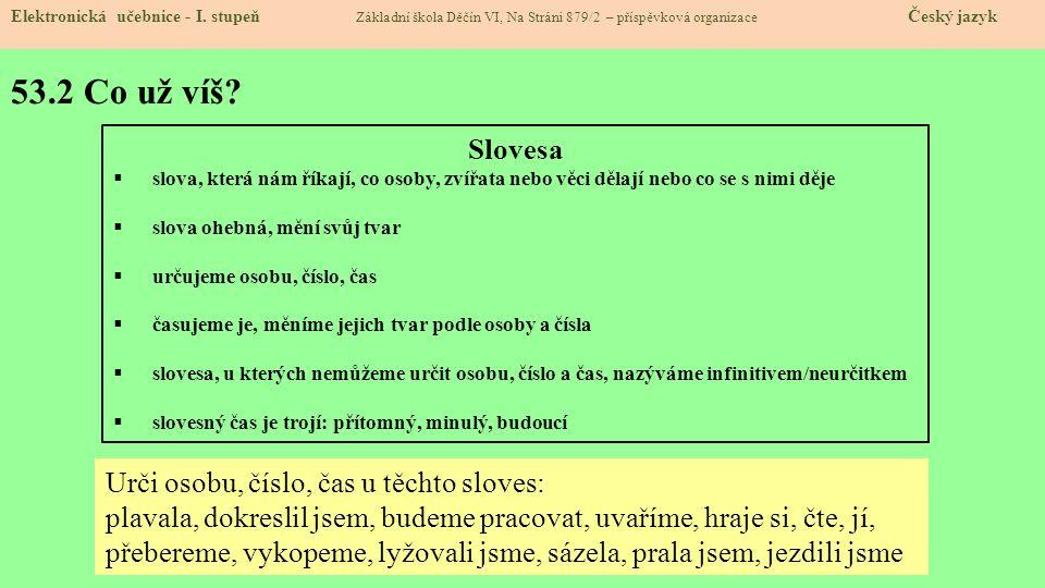 53.2 Co už víš Slovesa Urči osobu, číslo, čas u těchto sloves: