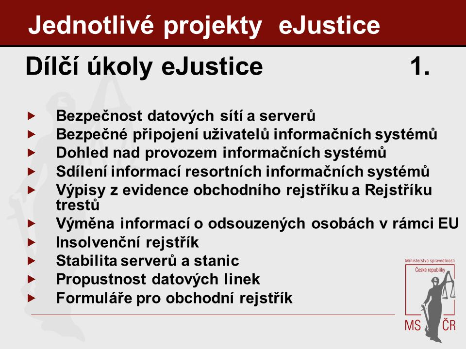 Jednotlivé projekty eJustice