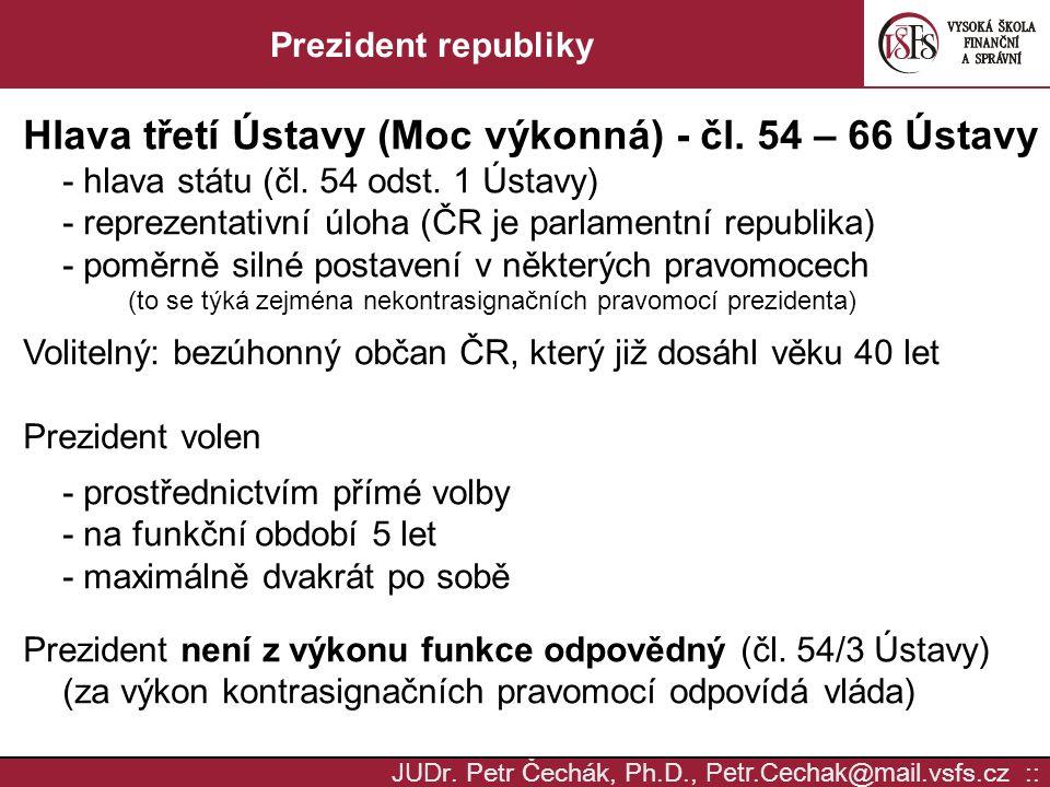 Hlava třetí Ústavy (Moc výkonná) - čl. 54 – 66 Ústavy