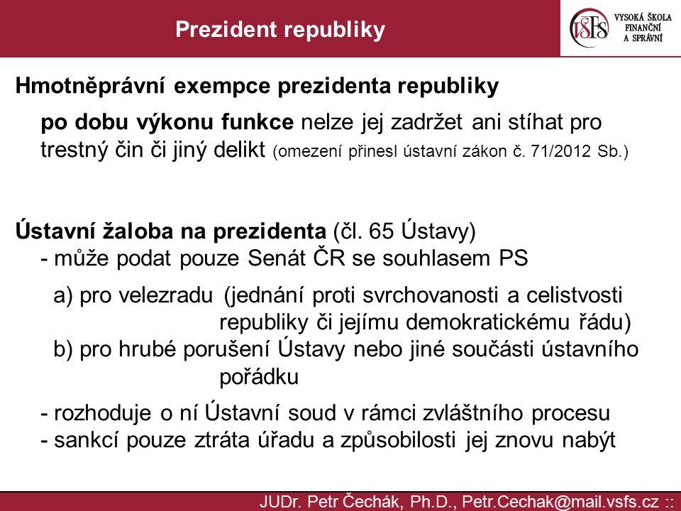 Hmotněprávní exempce prezidenta republiky