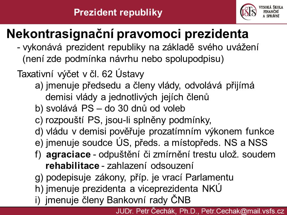 Nekontrasignační pravomoci prezidenta