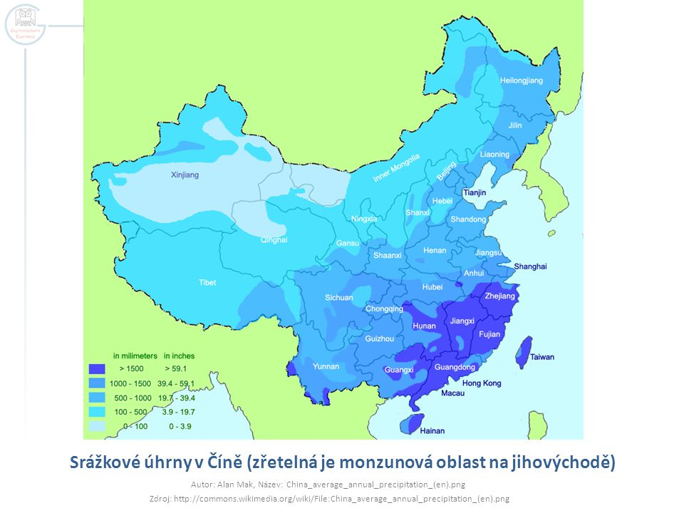 Srážkové úhrny v Číně (zřetelná je monzunová oblast na jihovýchodě)