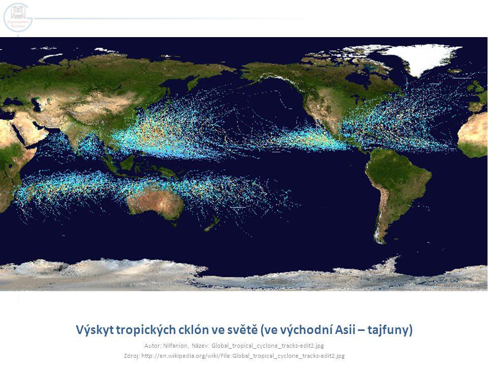 Výskyt tropických cklón ve světě (ve východní Asii – tajfuny)