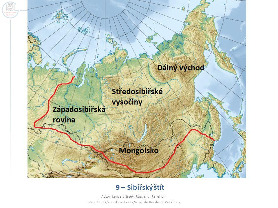 9 – Sibiřský štít Autor: Lencer, Název: Russland_Relief.pn
