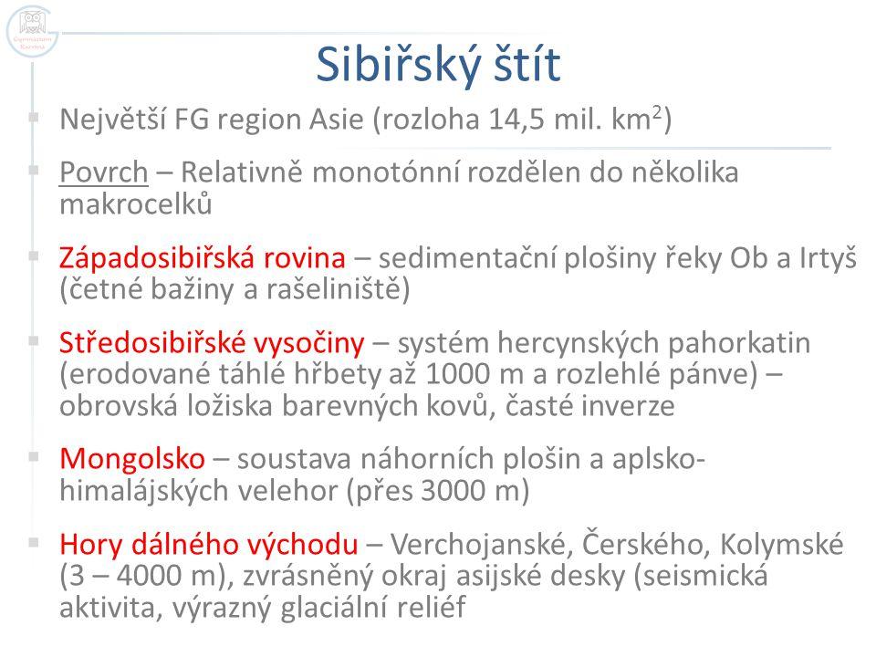 Sibiřský štít Největší FG region Asie (rozloha 14,5 mil. km2)