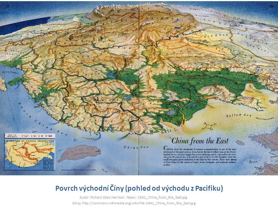 Povrch východní Číny (pohled od východu z Pacifiku)