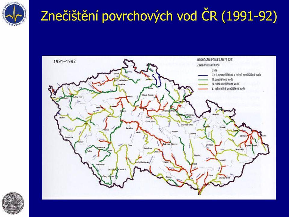 Znečištění povrchových vod ČR (1991-92)