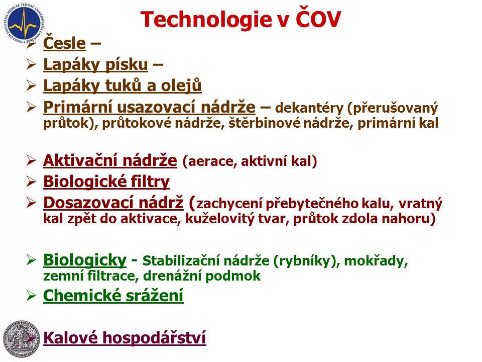 Technologie v ČOV Česle – mechanické, automaticky stírané,…