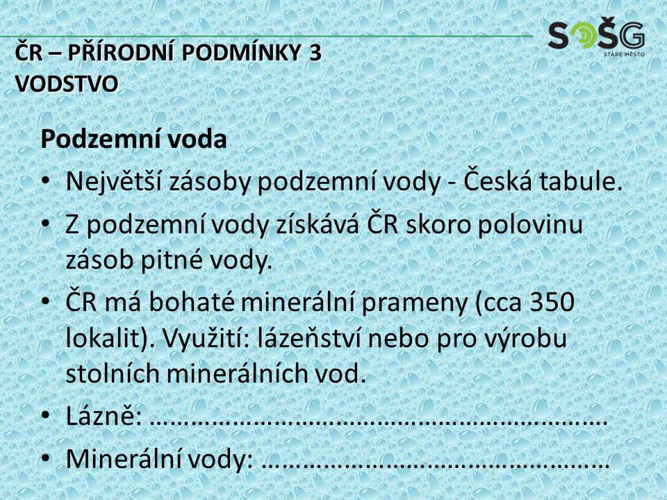 Největší zásoby podzemní vody - Česká tabule.