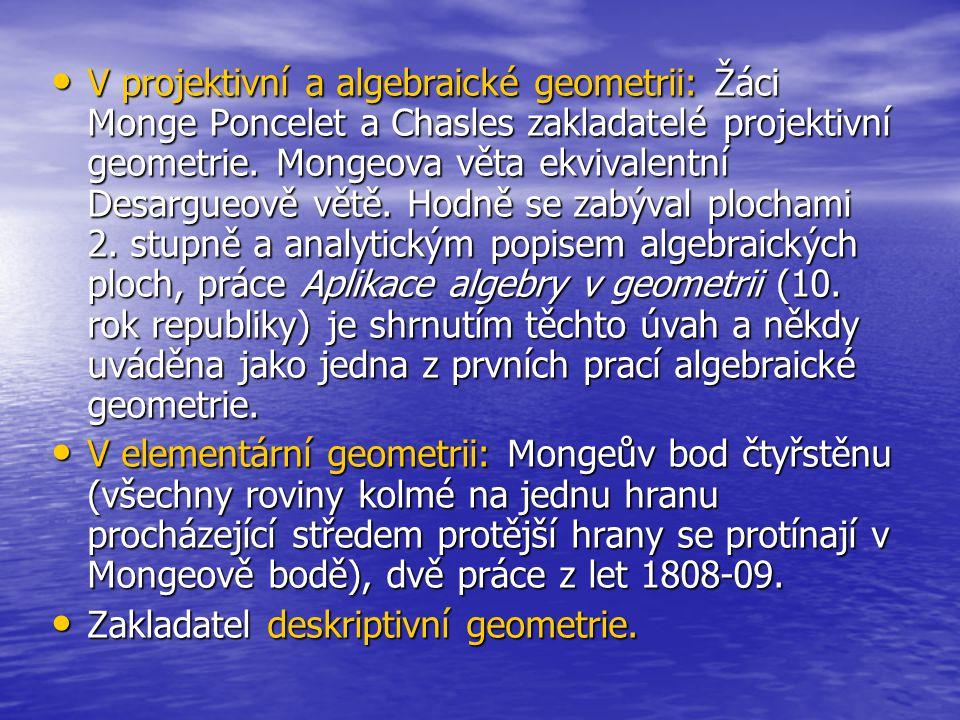 V projektivní a algebraické geometrii: Žáci Monge Poncelet a Chasles zakladatelé projektivní geometrie. Mongeova věta ekvivalentní Desargueově větě. Hodně se zabýval plochami 2. stupně a analytickým popisem algebraických ploch, práce Aplikace algebry v geometrii (10. rok republiky) je shrnutím těchto úvah a někdy uváděna jako jedna z prvních prací algebraické geometrie.