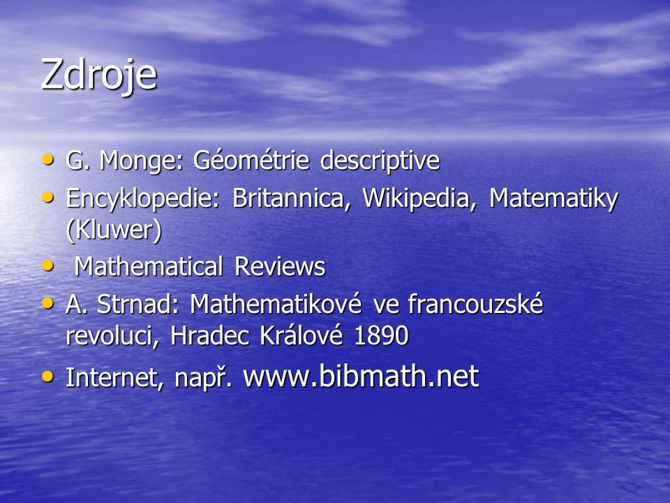 Zdroje G. Monge: Géométrie descriptive