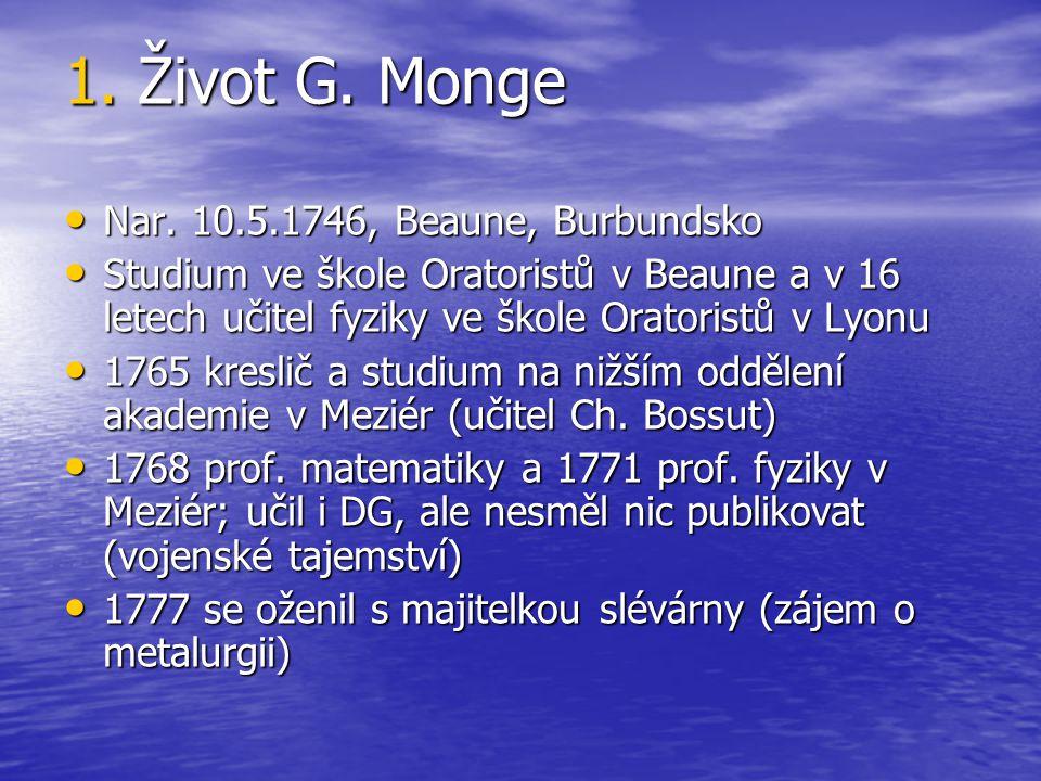 1. Život G. Monge Nar. 10.5.1746, Beaune, Burbundsko
