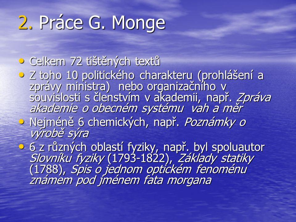 2. Práce G. Monge Celkem 72 tištěných textů