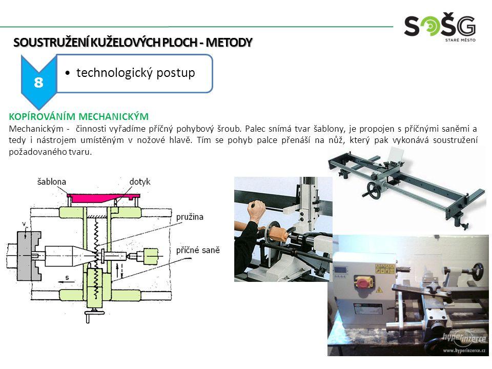 SOUSTRUŽENÍ KUŽELOVÝCH PLOCH - METODY 8 technologický postup