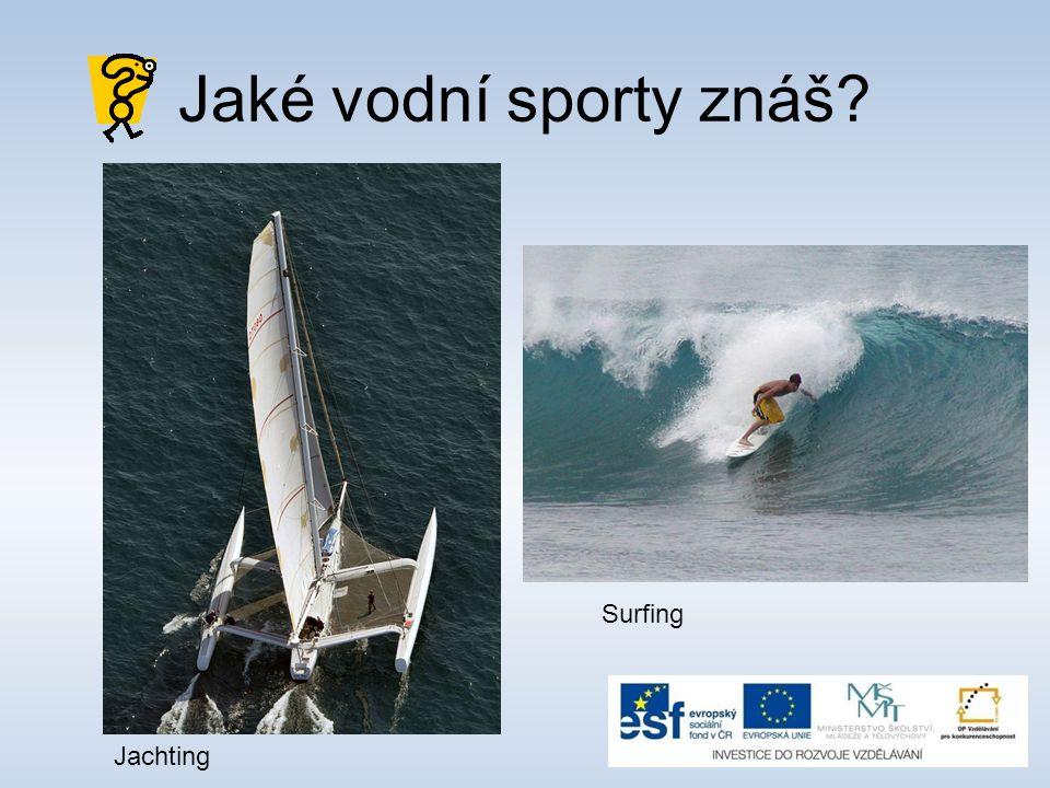 Jaké vodní sporty znáš Surfing Jachting